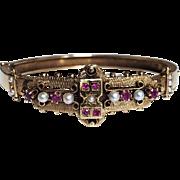 Vintage Victorian Revival Ruby Pearl 14K Gold Bangle Bracelet