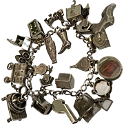 Articulated Mechanical Vintage Art Deco Charm Bracelet Sterling Silver Charms