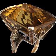Art Deco Retro Citrine 50CT 14K Gold Ring