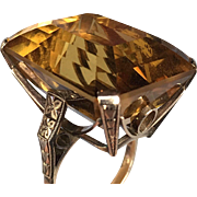 Art Deco Retro Citrine 50CT 14K Gold Ring