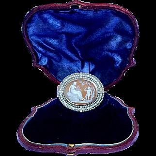 Antique Platinum Gold Pearl Goddess Venus Cupid Cameo Brooch Belle Époque
