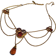 Antique 18K Gold Citrine Clover Motif Art Nouveau Festoon Necklace