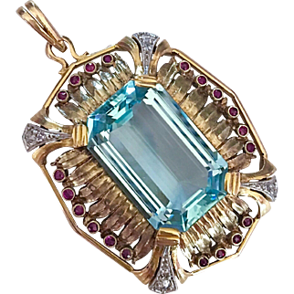 Art Deco Aquamarine Diamond Ruby 14K Gold Pendant