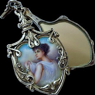 Rare Antique Enamel Portrait 4 inch Locket Art Nouveau
