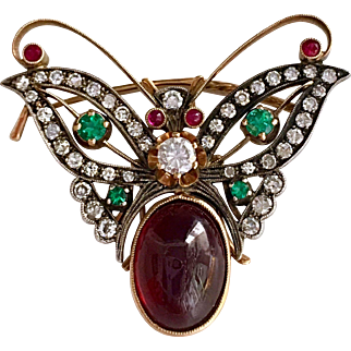 Antique Russian Diamond Carbuncle Garnet Bug Insect 14K Gold Brooch