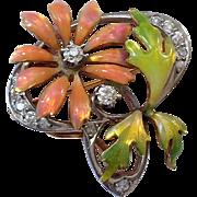 Rare Antique Platinum Diamond Enamel Krementz 14K Gold Watch Pin