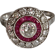 Art Deco Platinum Diamond Calibre French Cut Rubies
