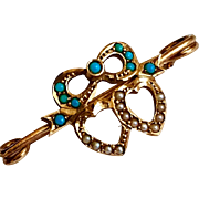 Antique Victorian Hearts 14K Gold Pearl Persian Turquoise Brooch