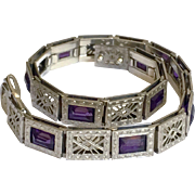 Art Deco Filigree Amethyst Glass Sterling Silver Bracelet