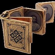 Rare Antique 14k Gold Victorian Enamel Book Locket Pendant Fob