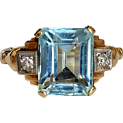 Retro Aquamarine Diamond 14K Gold Ring
