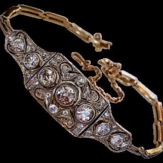 Antique French Platinum Diamond 18K Gold Belle Epoque Bracelet