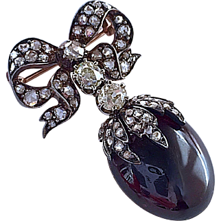 Antique French Victorian Diamond Carbuncle Garnet 18K Gold Brooch