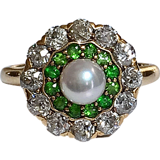 Antique Belle Époque Demantoid Garnet Diamond Cluster 18K Gold Edwardian Ring
