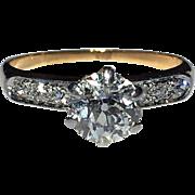 Antique Old European Cut .91CT Diamond Solitaire 14K Gold Platinum Engagement Ring