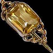Antique Georgian Citrine 14k Gold Veil Pin Brooch