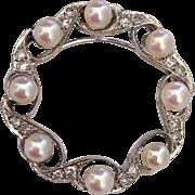 Retro 14K White Gold Diamond Encrusted Cultured Pearl Vintage Wedding Engagement Pendant Brooch