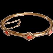 Antique Art Nouveau 14k Gold Coral Bangle Bracelet - Red Tag Sale Item