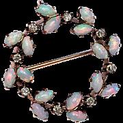 Antique Victorian Diamond Opal 14K Gold Pendant Brooch