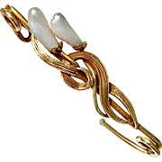 Antique Victorian, Arts and Crafts 14K Gold Freshwater Dogtooth Pearl Tulip Safety Pin Brooch