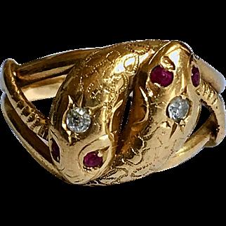 Antique Double Snake Diamond Ruby 18K Gold Toi Et Moi Ring