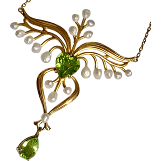 Superb Antique Victorian Art Nouveau Peridot Heart Pearl 14K Gold Necklace