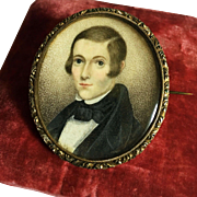 Fine Antique Georgian Miniature Portrait Painting Hair Locket Mourning Brooch