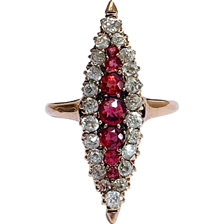 Antique Victorian Old Mine Cut Diamond Garnet 14K Gold Navette Ring