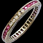 Art Deco Platinum Diamond Pink Sapphire Eternity Band Vintage Wedding Ring