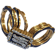 Rare Georgian Victorian Convertible Diamond Enamel 14K Gold Bracelet Ring