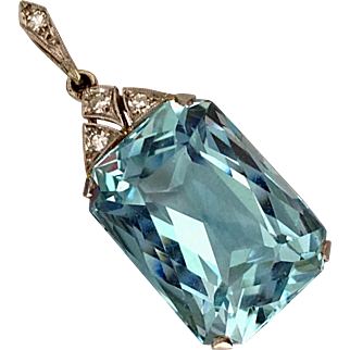 Art Deco Natural 16CT Aquamarine Diamond Platinum Pendant