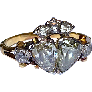 Rare Antique Georgian Diamond Wedding Engagement Crown Heart Ring 18K Gold 18th Century