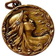 Sensual Antique Art Nouveau Nymph Maiden Diamond 14K Gold Locket Pendant
