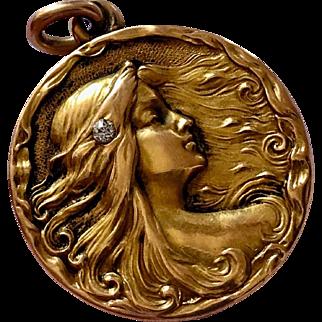 Sensual Antique Art Nouveau Nymph Maiden Diamond 14K Gold Locket Pendant