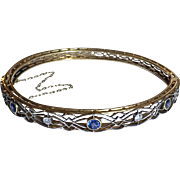 Antique Platinum Sapphire Diamond 14k Gold Hinged Edwardian Bangle Bracelet