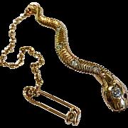 Antique Victorian Diamond Ruby 14K Gold Snake Serpent Brooch Pin