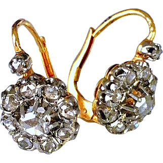 Antique French Diamond Cluster 18K Gold Victorian Earrings