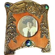 Rare Antique French Art Nouveau Jeweled Cabochon Brass Frame 8 1/2 inches