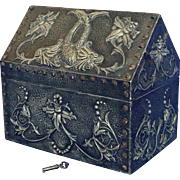 Antique 19th Century French Art Nouveau Gothic Hand-Hammered Metal Serpent Box with Key