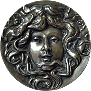 Large Unger Brothers Art Nouveau Sterling Silver Repousse Nymph Brooch