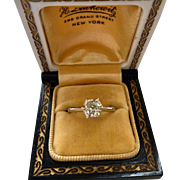 Art Deco Old European Cut Diamond Solitaire 14K White Gold Vintage Engagement Wedding Ring
