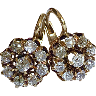 Antique Imperial Russian Old Mine Cut Diamond Cluster 14K Gold Victorian Earrings