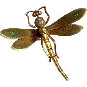 Rare Antique Diamond Demantoid Garnet A.J. Hedges Dragonfly 14K Gold Veil Clip Brooch Art Nouveau