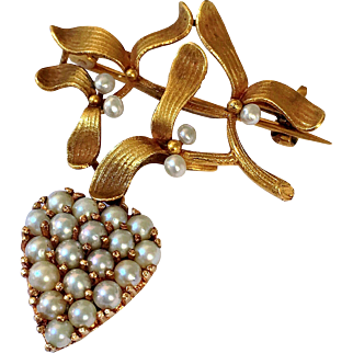 Antique French Mistletoe 18K Gold Heart Pearl Christmas Brooch Pendant Art Nouveau
