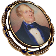 Antique 19th Century Miniature Portrait Painting Gentleman Gold Enamel Pearl Bracelet Brooch