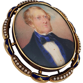 Antique 19th Century Miniature Portrait Painting Gentleman Gold Enamel Pearl Bracelet Brooch