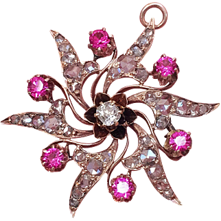 Antique Victorian Diamond 14K Gold Pink Sapphire Star Snowflake Pendant Brooch