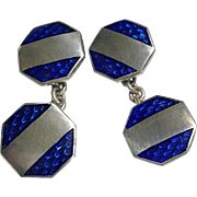 Fine Vintage Guilloche Enamel Sterling Silver Signed Double-Sided Cufflinks