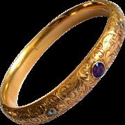 Antique Riker Bros 14K Gold Diamond Amethyst Art Nouveau Bangle Bracelet