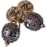 Antique Victorian Etruscan 14K Gold Enamel Ball Drop Earrings